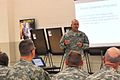 U.S. Army Brig. Gen. Kenneth Jones, commanding general of the 451st Sustainment Command, discusses the importance of being prepared during an overseas operation June 8, 2013, at the Lanny J. Wallace Army Reserve 120608-A-SD144-040-ST.jpg