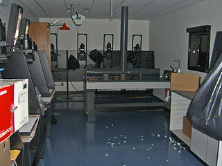 Darkroom workshop used by photographers make prints and otherwise handle photographic film