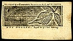 Maryland colonial currency, 1 dollar, 1770 (reverse)
