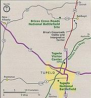 USA Mississippi Tupelo area NPS map