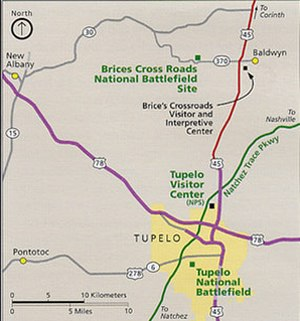 Tupelo, Mississippi - Tupelo area National Park Service map