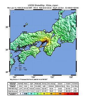 Great Hanshin earthquake - USGS ShakeMap for the event