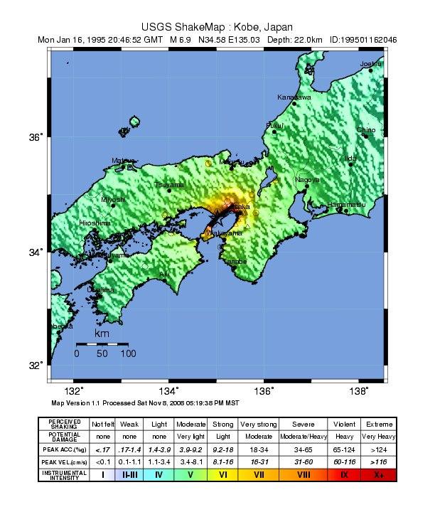 USGS Shakemap - 1995 Kobe earthquake