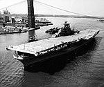 USS Antietam (CVA-36) passes under Brooklyn Bridge in New York City (USA), on 3 August 1953 (80-G-626628).jpg