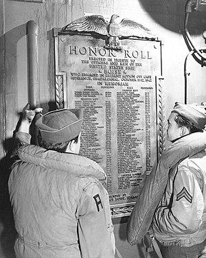 USS Boise (CL-47) Battle of Cape Esperance memorial plaque, in November 1945 (80-G-701627).jpg