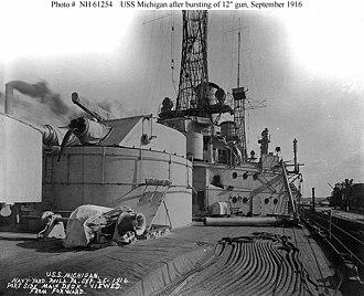 "12""/45 caliber Mark 5 gun - Image: USS Michigan blown off 12 inch gun"