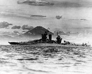 USS New Mexico (BB-40) - New Mexico, with Mt. Fuji in the background, August 1945.