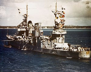 USS Quincy (CA-39) - Quincy anchored at New Caledonia on 3 August 1942.
