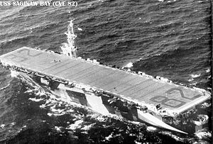 USS Saginaw Bay (CVE-82) underway at sea, circa 1944.jpg
