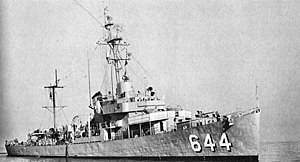 USS Vammen (DE-644), off San Francisco, on 3 December 1957