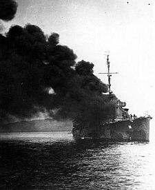 USS Ward (DD-139) afire