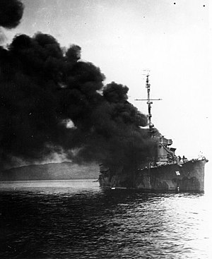 USS Ward (DD-139) - Ward, after being hit by a kamikaze.