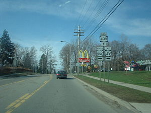 New York State Route 438 - Approaching the southern terminus of NY 438 on US 62 north and NY 39 east