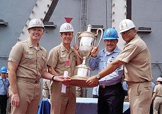 Battenberg Cup - Image: US Navy 020627 N 0382M 001 Battenberg Cup presentation aboard ship