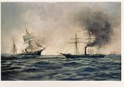 US Navy 030204-N-0000X-001 This 1922 artwork depicts the sinking of the Confederate ship CSS Alabama.jpg