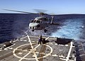 US Navy 070430-N-5253W-005 Sailors aboard the Arleigh burke-class guided-missile destroyer USS Lassen (DDG 82) connect a pallet to an SH-60B helicopter.jpg