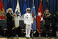 US Navy 070709-D-7203T-012 Secretary of Defense Robert M. Gates and U.S. Army Gen. Doug Brown applaud for Adm. Eric T. Olson, commander of U.S. Special Operations Command (USSOCOM) during a change of command ceremony at the Tam.jpg