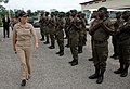 US Navy 090415-N-1655H-051 Capt. Cindy Thebaud, commander of Africa Partnership Station Nashville, reviews Gabonese troops.jpg