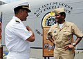 US Navy 090612-N-9985W-037 Commander, Second Fleet, Vice Adm. Mel Williams Jr. speaks with Capt. Tushar Tembe, commanding officer of the amphibious transport dock ship USS Nashville (LPD 13).jpg
