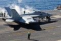 US Navy 110129-N-7004H-071 An EA-18G Growler prepares to take off from USS George H.W. Bush (CVN 77).jpg