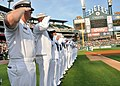 US Navy 110719-N-VO219-009 Sailors salute during the national anthem during Navy Night at Comerica Park in Detroit.jpg