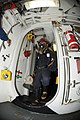 US Navy 110829-N-DU438-009 Logistics Specialist 2nd Class Lee Gearing investigates a space during a toxic gas exercise aboard USS Gettysburg (CG 64.jpg