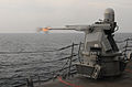 US Navy 111101-N-XQ375-405 The MK 38 25mm machine gun aboard the guided-missile destroyer USS Mitscher (DDG 57)fires during a gunnery exercise.jpg