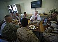 US Navy 111119-N-AC887-004 Secretary of the Navy (SECNAV) the Honorable Ray Mabus eats lunch with Sailors and Marines at the Krtsanisi Training Are.jpg