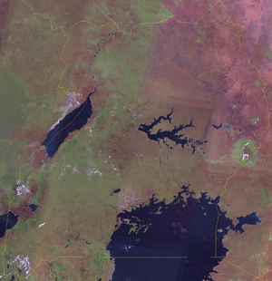Outline of Uganda - An enlargeable satellite image of Uganda