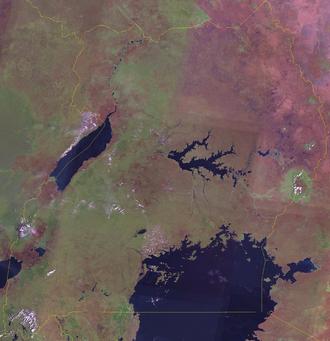 Outline of Uganda - An enlargeable satellite image of Uganda