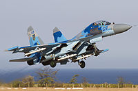 Ukraine Air Force Sukhoi Su-27UB taking off from Belbek.jpg