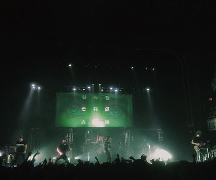 Underoath performing at The Tabernacle in Atlanta, Georgia on April 23, 2016 Underoathrebirth16.jpg