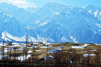 Skardu - Sand dunes in the Cold Desert of Skardu are  often covered in snow during winter.