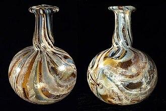 Unguentarium - Roman marbled glass piriform unguentarium (front and back)