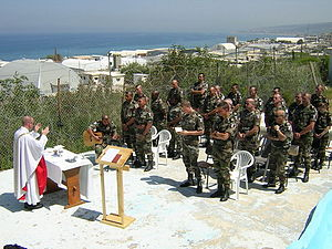 Chaplain - French soldiers of the UNIFIL attending a Catholic Mass in Lebanon