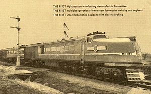 """GE steam turbine locomotives - A circa-1939 postcard touting the GE steam turbine locomotives' """"firsts"""", including first multiple operation of two steam locomotives by a single engineer"""