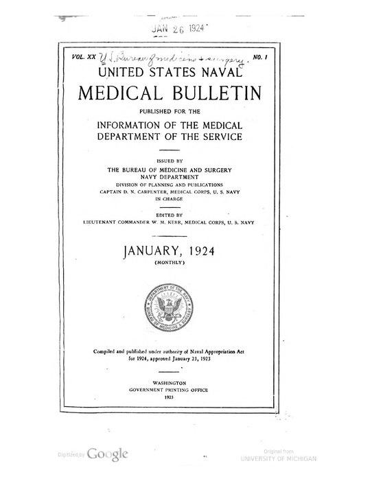 File:United States Naval Medical Bulletin Vol. 20, Nos. 1-6, 1924 ...