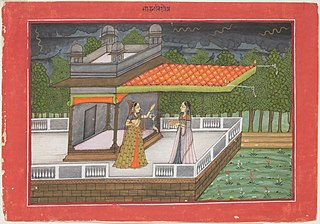 The Month of Shravana (July-August), from a manuscript of the Barahmasa (\