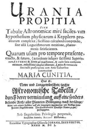 Maria Cunitz - The title page of the Urania propitia by Maria Cunitz (1650)
