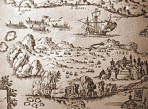 Uskoks - Stitch with Uskok-ships chasing a large ship. Museum of Fortress Nehaj in Senj, Croatia.