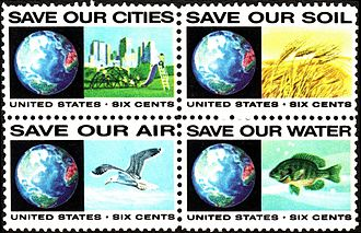 Environmental movement in the United States - 1970s US postage stamp block.