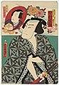 Utagawa Kunisada II - Actors Nakamura Shikan IV as Akamaya Genzaemon, actually Kannon Kyûji, and Sawamura Tosshô II as Motome; Sawamura Tanosuke III as Omiwa, and Ichikawa Kuzô III as Chiyo Yasubei, now Kômori Yasu.jpg