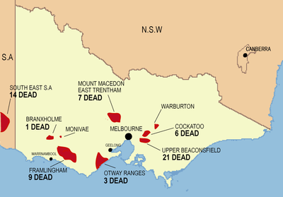 Map of fire affected areas in Victoria