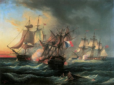Battle between the French warship Droits de l'Homme and the frigates HMS Amazon and Indefatigable, 13 & 14 January 1797, Leopold Le Guen Vaisseau-Droits-de-lHomme.jpg