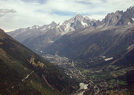 The Chamonix valley seen from the south