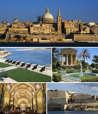 Valletta - From top: Skyline, Saluting Battery, Lower Barrakka Gardens, St. John's Co-Cathedral and the city walls