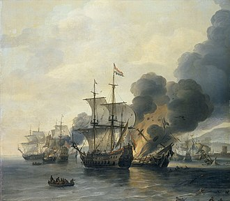 Battle of Leghorn - The Battle of Leghorn, 4 March 1653 by Willem van Diest, painted mid-17th century