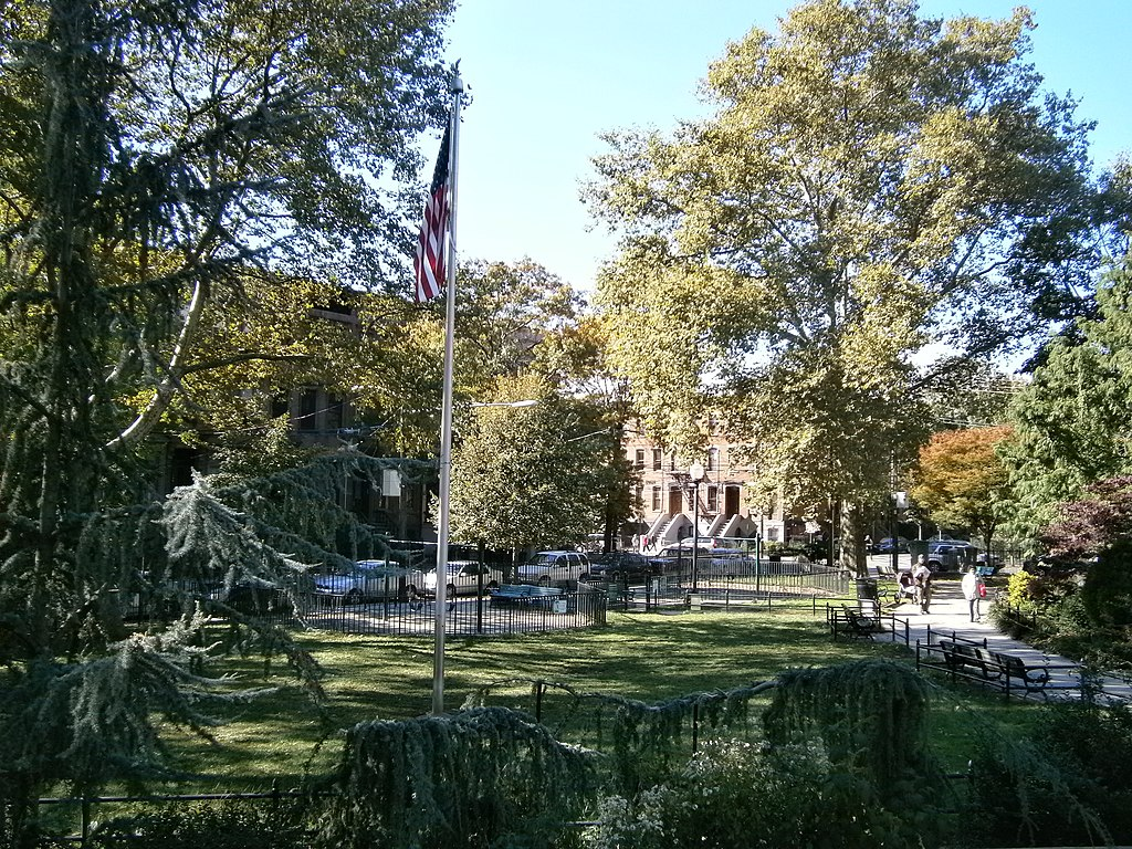 Van Vorst Park looking southwest to Jersey Avenue JC,NJ