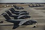 Various C-17 Globemaster IIIs wait for cargo supporting Haiti relief efforts on the flightline of Charleston Air Force Base, S.C..jpg
