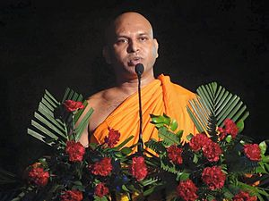 Maha Bodhi Society - Ven. P Seewalee Thero present General Secretary of the Maha Bodhi Society of India, delivering speech in religious occasion at Sarnath.